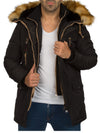 Y&R Men Stylish Parka Mid Length 2 Front Zip Layers Coat Hoodie Fur Jacket - Black