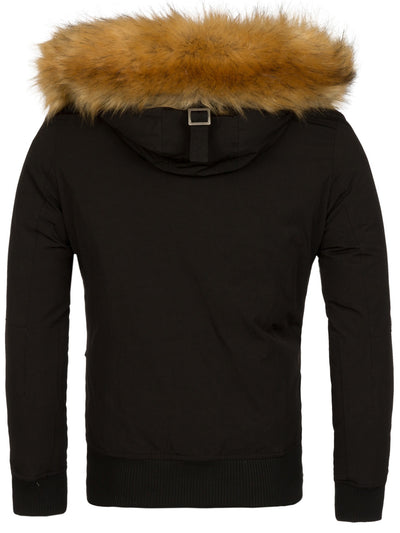 Y&R Men Parka Jacket Detachable Hoodie Fur - Black