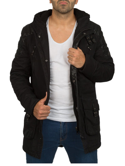 Y&R Men Stylish Mid Length Jacket Faux Leather Coat - Black
