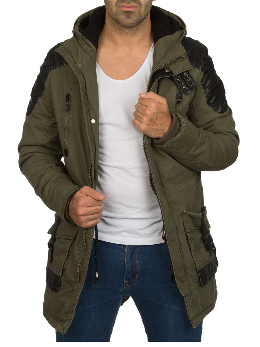 Y&R Men Stylish Mid Length Jacket Faux Leather Coat - Army Green