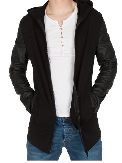 Y&R Men Stylish Mid Length Zip Up Hoodie Faux Leather Sleeves - Black