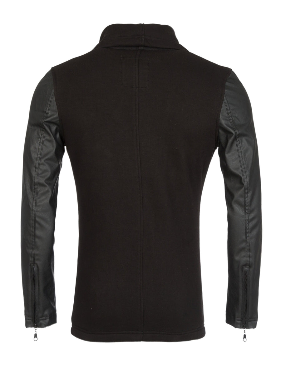 Y&R Men Stylish Sweater Faux Leather Sleeves - Black