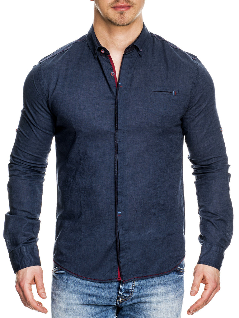 Men casual button up l s shirt navy blue for Button up mens shirt