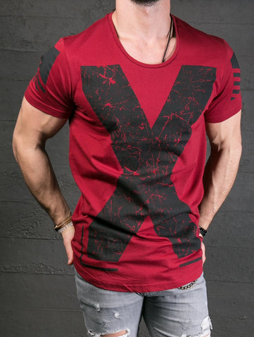 K&B Men X Deep Neck T-shirt - Red