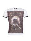 R&R Men Bling Angry Pitbull Perforated T-shirt - White