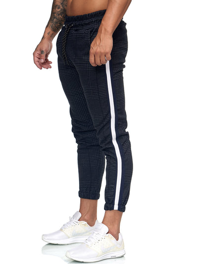 Patta Plaid Sweatpants Joggers - Navy White X0008C