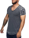 Washed Rugged Big V-neck T-Shirt - Asphalt Gray X0013A