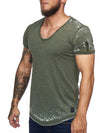 Washed Rugged Big V-neck T-Shirt - Army Green X0013B