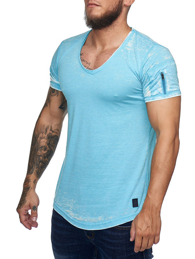 Washed Rugged Big V-neck T-Shirt - Sky Blue X0013C