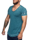 Washed Rugged Big V-neck T-Shirt - Green X0013D