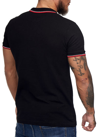 """52"" Badge Polo T-Shirt - Black  X0014A - FASH STOP"