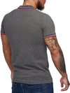 """52"" Badge Polo T-Shirt - Asphalt Gray  X0014D - FASH STOP"