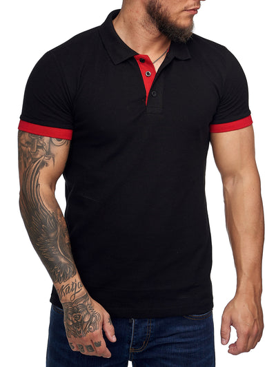 Planu Ringed Sleeves Polo T-Shirt - Black  X0015A