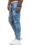 Blitz Ripped Distressed Jeans - Blue X0016 - FASH STOP