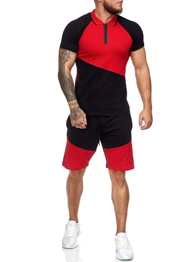 Palu Polo Shirt + Short  Ensemble - Black Red X0017A