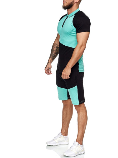 Palu Polo Shirt + Short  Ensemble - Black Green X0017C