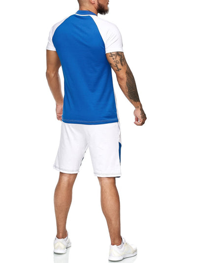 Palu Polo Shirt + Short  Ensemble - White Blue X0017D