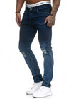Scrapped Knees Fading Skinny Ripped Distressed Jeans - Blue X0019