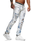 Shredded Ripped Washed  Distressed Jeans - Blue X0024