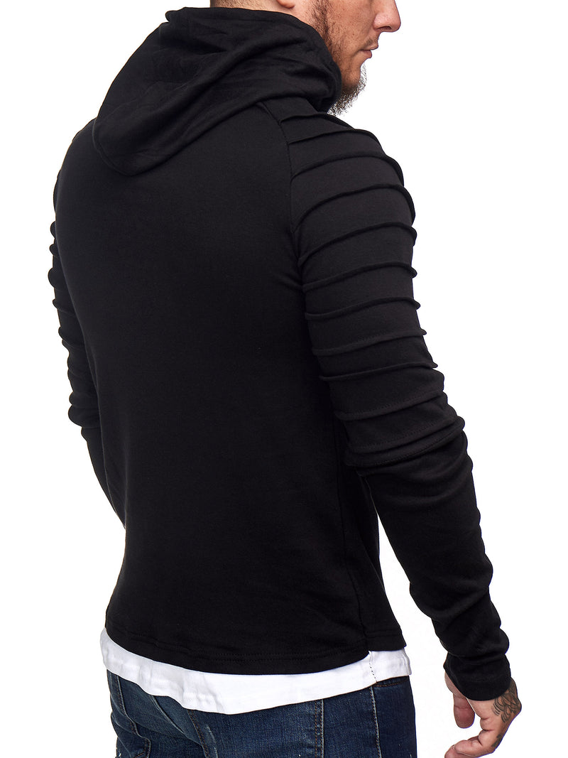Goum Extention Ribbed Hoodie Sweatshirt - Black X0029A - FASH STOP