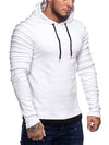 Goum Extention Ribbed Hoodie Sweatshirt - White X0029B - FASH STOP