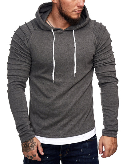 Goum Extention Ribbed Hoodie Sweatshirt - Asphalt Gray X0029C - FASH STOP