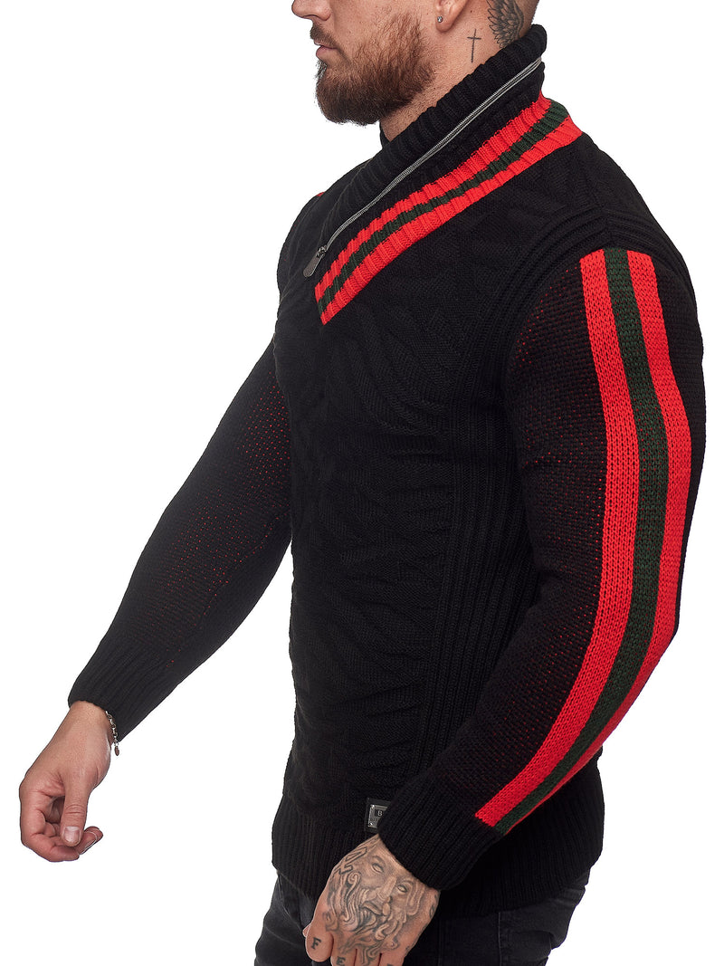 Prof Shawl Neck Knitted Sweater - Black X0031A
