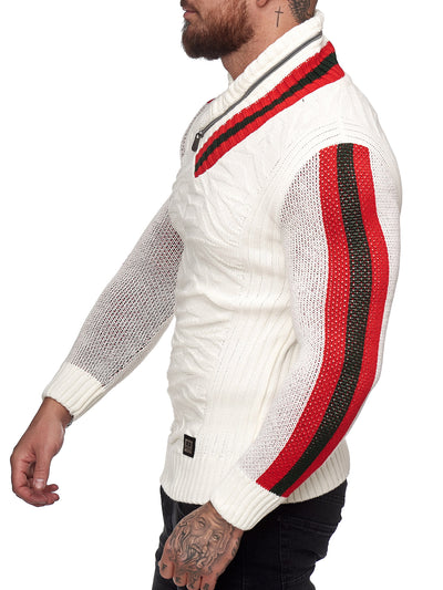 Prof Shawl Neck Knitted Sweater - White X0031B