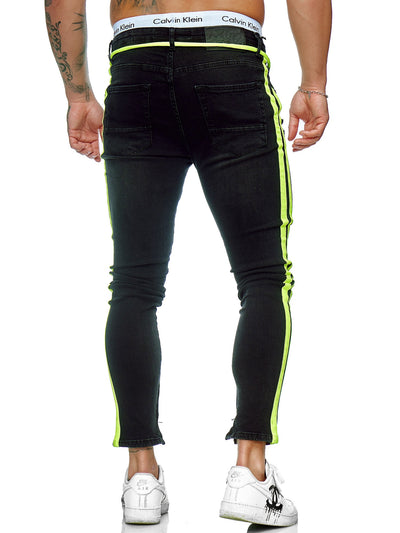 Jum Side Fluo Side Stripes Skinny Drawstring Jeans - Black X0032A
