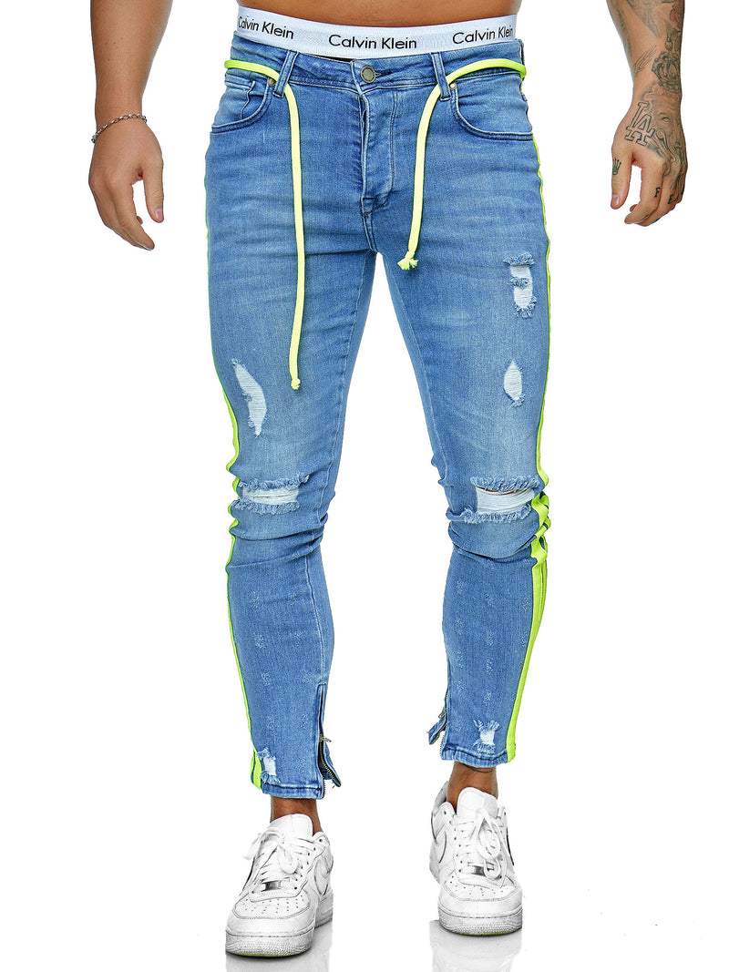 Jum Side Fluo Side Stripes Skinny Drawstring Jeans - Blue X0032B