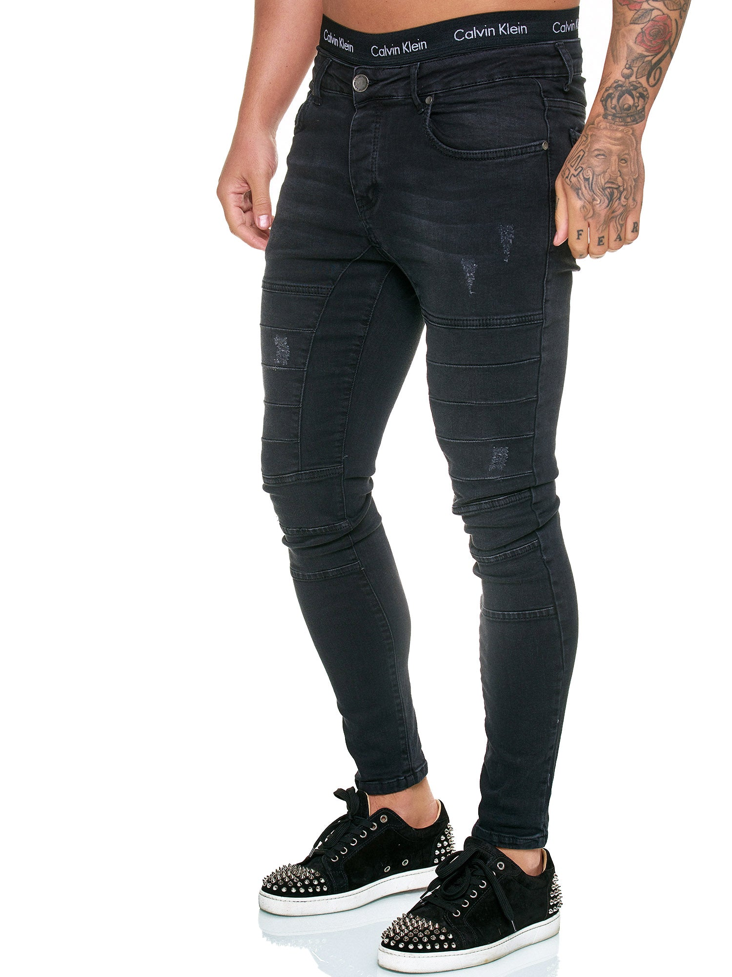 SamBar Distressed Jeans - Black X0034A