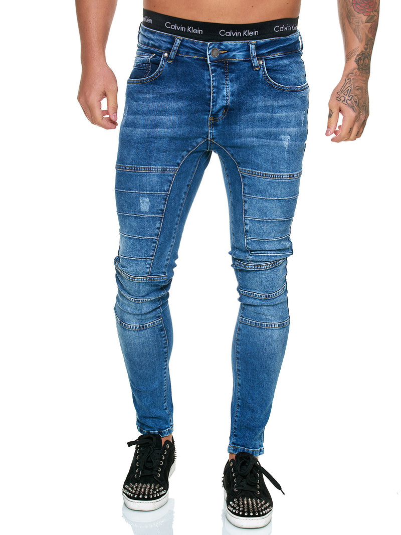 SamBar Distressed Jeans - Blue X0034B