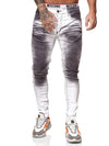 Meca Dirty Biker Jeans - White X0039