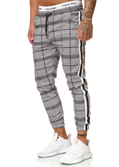 Kark II Plaid Sweatpants Joggers - Black White X0041