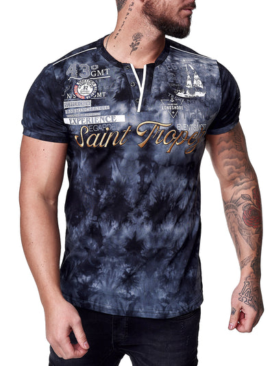 """Saint Tropez"" Print Graphic T-Shirt - Black X0043A"