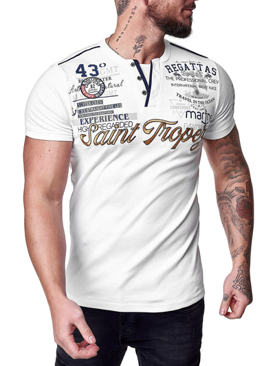 """Saint Tropez"" Print Graphic T-Shirt - White X0043B"