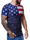 USA Flag Overt Print Graphic T-Shirt - Multicolor  X0048