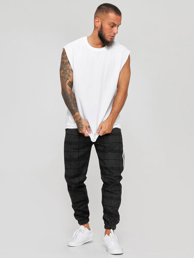 Sori Plaid Sweatpants Joggers - Black X74A