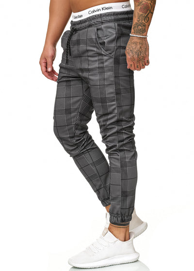 Kark Plaid Sweatpants Joggers - Dark Gray X0010A - FASH STOP