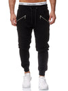 Ribbed Zipper Sweatpants Joggers - Black X2A