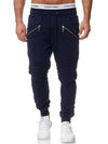 Ribbed Zipper Sweatpants Joggers - Navy Blue X2C