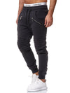 Ribbed Zipper Sweatpants Joggers - Dark Gray X2D