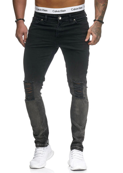Scrapped Knees Fading Skinny Ripped Distressed Jeans - Black X3