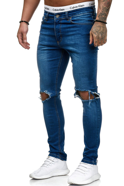 Blowout Knees Skinny Ripped Distressed Jeans - Blue X4 - FASH STOP