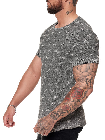 Tranche Ripped T-Shirt - Black X51A