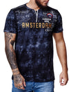 """Amsterdam"" Print Graphic T-Shirt - Black X53B"
