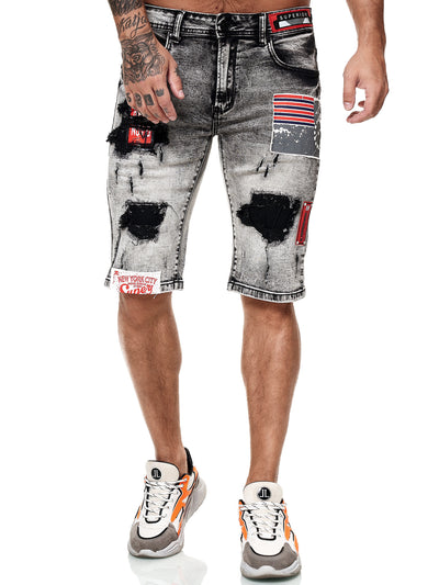 Fighter Ripped Denim  Shorts - Washed Black X54