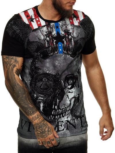 Violent Flag Graphic T-Shirt - Black X55A