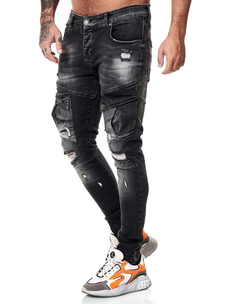 Fanz Ripped Cargo Jeans - Black X59A