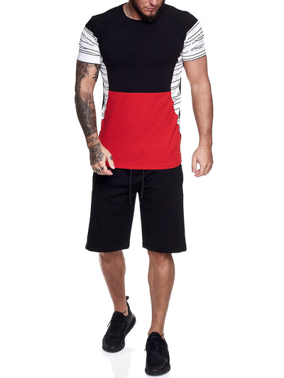 Flavy Shirt + Short  Ensemble - Black White Red X64A